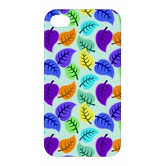 Colorful Leaves Blue Apple Iphone 4/4s Hardshell Case by vintage2030
