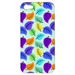 Colorful Leaves Blue Apple Iphone 5 Hardshell Case by vintage2030