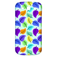 Colorful Leaves Blue Samsung Galaxy S3 S Iii Classic Hardshell Back Case by vintage2030