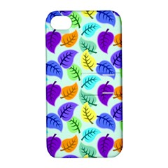 Colorful Leaves Blue Apple Iphone 4/4s Hardshell Case With Stand by vintage2030