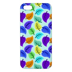 Colorful Leaves Blue Apple Iphone 5 Premium Hardshell Case