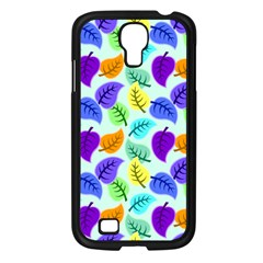 Colorful Leaves Blue Samsung Galaxy S4 I9500/ I9505 Case (black) by vintage2030