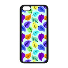 Colorful Leaves Blue Apple Iphone 5c Seamless Case (black)