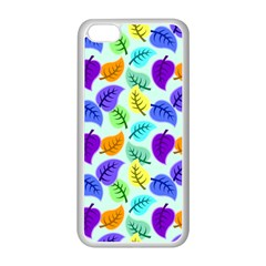 Colorful Leaves Blue Apple Iphone 5c Seamless Case (white) by vintage2030