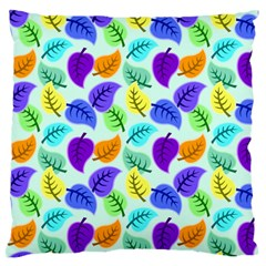 Colorful Leaves Blue Standard Flano Cushion Case (one Side)