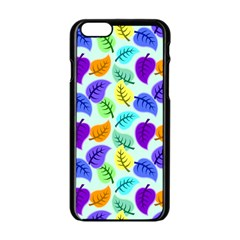 Colorful Leaves Blue Apple Iphone 6/6s Black Enamel Case by vintage2030
