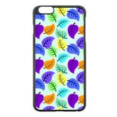 Colorful Leaves Blue Apple Iphone 6 Plus/6s Plus Black Enamel Case by vintage2030