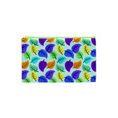 Colorful Leaves Blue Cosmetic Bag (xs) by vintage2030