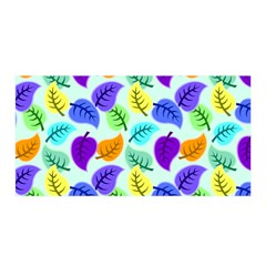 Colorful Leaves Blue Satin Wrap by vintage2030