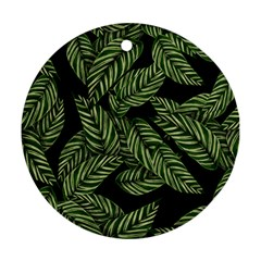 Tropical Leaves On Black Ornament (round) by vintage2030