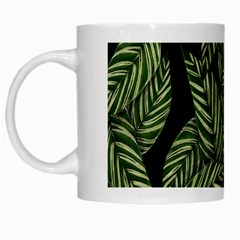 Tropical Leaves On Black White Mugs by vintage2030