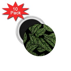 Tropical Leaves On Black 1 75  Magnets (10 Pack)  by vintage2030