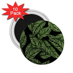 Tropical Leaves On Black 2 25  Magnets (10 Pack)