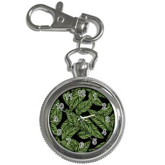 Tropical Leaves On Black Key Chain Watches