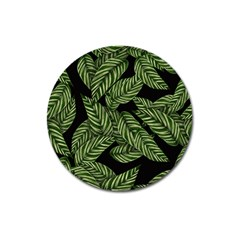 Tropical Leaves On Black Magnet 3  (round) by vintage2030