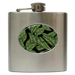 Tropical Leaves On Black Hip Flask (6 Oz) by vintage2030
