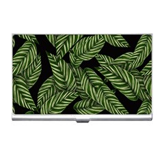 Tropical Leaves On Black Business Card Holder