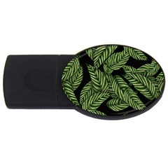Tropical Leaves On Black Usb Flash Drive Oval (2 Gb)