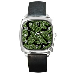 Tropical Leaves On Black Square Metal Watch