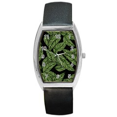 Tropical Leaves On Black Barrel Style Metal Watch