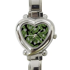 Tropical Leaves On Black Heart Italian Charm Watch