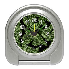 Tropical Leaves On Black Travel Alarm Clock