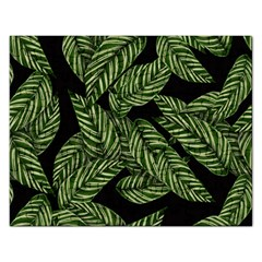 Tropical Leaves On Black Rectangular Jigsaw Puzzl