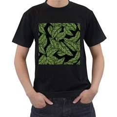 Tropical Leaves On Black Men s T Shirt (black) (two Sided)