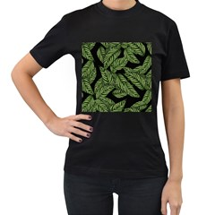 Tropical Leaves On Black Women s T Shirt (black) (two Sided)