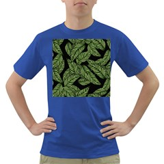 Tropical Leaves On Black Dark T Shirt