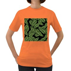 Tropical Leaves On Black Women s Dark T Shirt