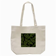 Tropical Leaves On Black Tote Bag (cream)