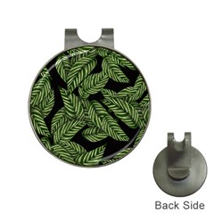 Tropical Leaves On Black Hat Clips With Golf Markers