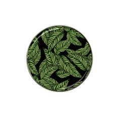 Tropical Leaves On Black Hat Clip Ball Marker