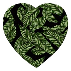 Tropical Leaves On Black Jigsaw Puzzle (heart)