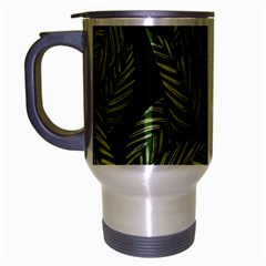 Tropical Leaves On Black Travel Mug (silver Gray)