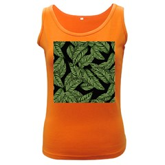 Tropical Leaves On Black Women s Dark Tank Top