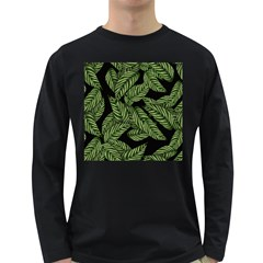 Tropical Leaves On Black Long Sleeve Dark T Shirt