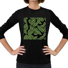 Tropical Leaves On Black Women s Long Sleeve Dark T Shirt