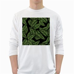 Tropical Leaves On Black Long Sleeve T Shirt