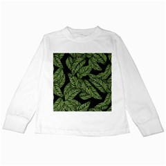 Tropical Leaves On Black Kids Long Sleeve T Shirts