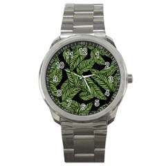Tropical Leaves On Black Sport Metal Watch by vintage2030