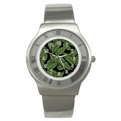 Tropical Leaves On Black Stainless Steel Watch