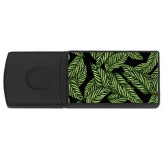 Tropical Leaves On Black Rectangular Usb Flash Drive
