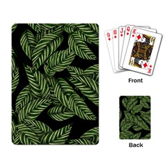 Tropical Leaves On Black Playing Cards Single Design