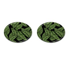 Tropical Leaves On Black Cufflinks (oval)