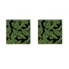 Tropical Leaves On Black Cufflinks (square)