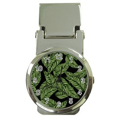 Tropical Leaves On Black Money Clip Watches
