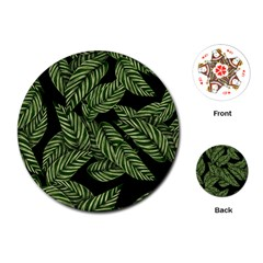 Tropical Leaves On Black Playing Cards (round)