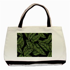 Tropical Leaves On Black Basic Tote Bag